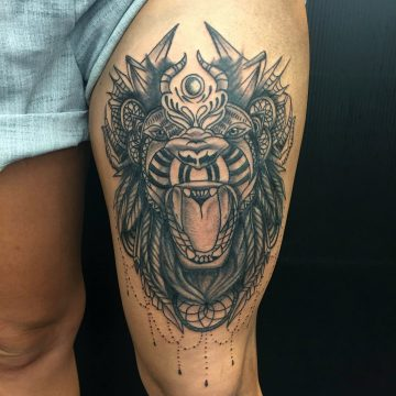 lion-mandala-thigh-tattoo-primitive-tattoo-ink