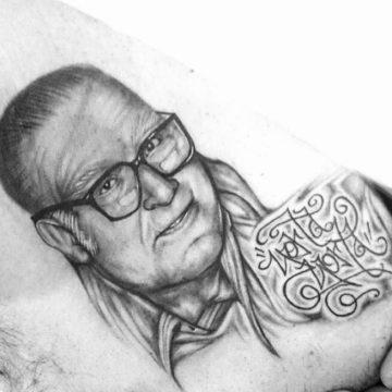 Damien Realism portraits, mandala script primitive tattoo