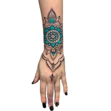 Petra Mandala Geometry geometric tattoo floral sternum hand femals tattoo primitive tattoo tribal best tattoo shop studio in perth script www.primitivetattoo.com.au10